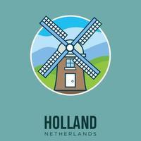 Windmühlen kinderdijk die Niederlande Holland Amsterdam Wahrzeichen Design Vektor Lager Illustration. Niederlande Reisen und Attraktion, Sehenswürdigkeiten, Tourismus und traditionelle Kultur