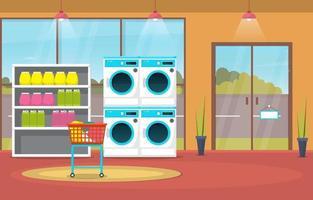 Waschsalon mit Waschmaschinen und Gestellen vektor