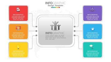infograph 6 steg färgelement med cirkeldiagram diagram, affärsgraf design. vektor