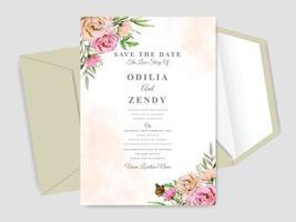vacker blommig hand dras bröllop inbjudningskort vektor