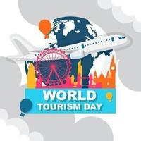 Skyline von London England auf Globus, Welttourismustag vektor