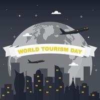 Moskva Rysslands silhuett på världen, världens turismdag vektor