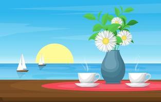 koppar te och blommor på bordet med utsikt över havet och segelbåtar