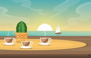 Tassen Tee und Kaktus auf Tisch mit Blick auf Meer und Segelboot vektor