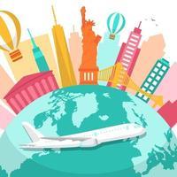 Skyline von New York City auf Globus, Welttourismus-Tag vektor