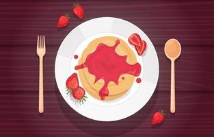 Erdbeerpfannkuchen auf Teller mit Besteck vektor
