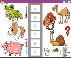 Lernspiel mit großen und kleinen Comic-Tieren für Kinder vektor