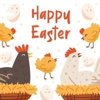 glad påsk illustration, banner, gratulationskort formgivningsmall. höna, fågel, husdjur.