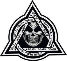 Militärzeichen mit Schädel im Dreieck, Grunge Vintage Design T-Shirts vektor