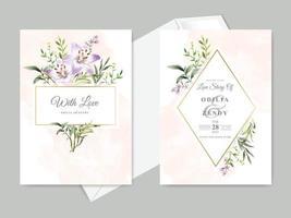 schöne Blumen hand gezeichnete Hochzeitseinladungskarten vektor