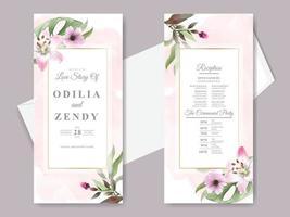 vackra blommor hand dras bröllop inbjudningskort vektor
