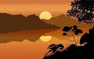 flache Landschaft des Flusssonnenuntergangs vektor