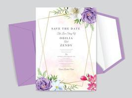 elegante Blumen handgezeichnete Hochzeitseinladungskarten vektor