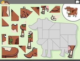 pusselspel med ko gård djur karaktär