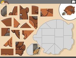 pusselspel med björnar och igelkottdjurskaraktärer