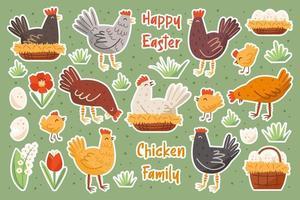 uppsättning kycklingfamilj. kyckling, höna, kuk, ägg, bo, blomma. glada påskelement, uppsättning klistermärken. vektor