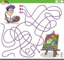 pedagogiskt labyrint spel med tecknad målare och hans målning vektor