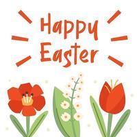 glad påskillustration, banner, gratulationskortdesign. blommor, natur. vallmoblomma, snödroppe, tulpan. vektor