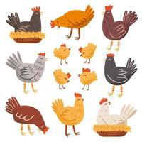 Henne, Vogel, Hahn, Huhn eingestellt. Bauernhof, Landleben. Öko-Lebensmittelproduktion. vektor
