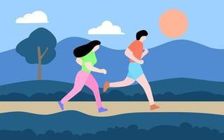 Jungen und Mädchen, die im Park joggen vektor