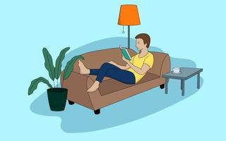 Mann entspannt sich auf dem Sofa vektor