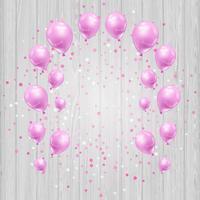 Feierhintergrund mit rosa Ballonen und Konfetti