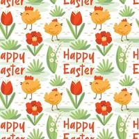 glad påsk dekoration. kyckling, kyckling, blomma, gräs. sömlösa mönster, konsistens, bakgrund. vektor
