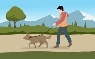 Mann geht mit seinem Hund spazieren vektor
