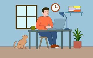 Mann, der zu Hause am Laptop arbeitet vektor