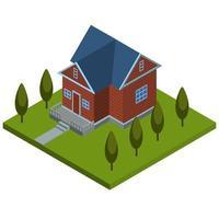 isometrisches Holzlandhaus vektor