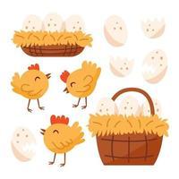 liten kyckling, fågel, husdjur, korg med ägg, bo. vektor