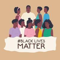 schwarze Leben Materie Banner mit jungen Menschen, stoppen Rassismus Konzept vektor