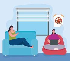 distansarbete, kvinnor i vardagsrummet som arbetar hemifrån vektor