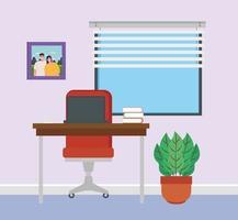 scen av inrikes kontor hemma vektor