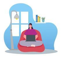 distansarbete, kvinna som använder bärbar dator som arbetar hemifrån vektor