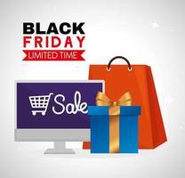 svart fredag affisch med dator, väska och presentförpackning