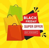 schwarzes Freitagplakat mit Einkaufstasche