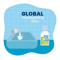 globales Handwasch-Tagesbanner vektor