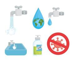 globales Handwaschtagikonensatzvektordesign vektor