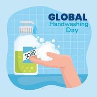 globales Handwasch-Tagesbanner mit Seifenflasche vektor