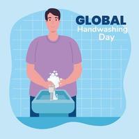 globales Handwasch-Tagesbanner mit Mann, der Hände wäscht vektor