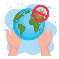 verbotenes Coronavirus mit Globus- und Handvektorentwurf vektor