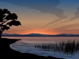 lugn sjö solnedgång med träd silhuett vektor
