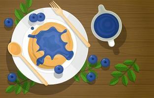Blaubeerpfannkuchen mit Sirup und Besteck auf Holztisch vektor