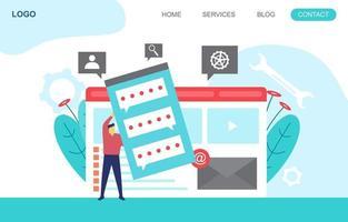 Landingpage-Vorlage mit Geschäftsleuten, die eine moderne Website erstellen vektor
