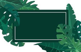 tropische Hintergrundschablone mit Rand gefüllt mit großen Pflanzen und Blättern vektor