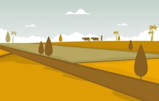 asiatisches goldenes Reisfeld bereit für Ernteillustration vektor