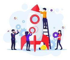 Unternehmensgründungskonzept, Menschen arbeiten zusammen, um eine Rakete für die Gründung eines neuen Unternehmens zu bauen. Steigern Sie Ihre flache Vektorillustration Ihres Geschäfts