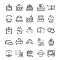 Satz Bäckerei-Ikonen mit Strichgrafikstil. vektor