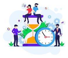 Zeitmanagementkonzept mit Leuten, die nahe einer großen Uhr und einer flachen Sanduhrvektorillustration arbeiten vektor